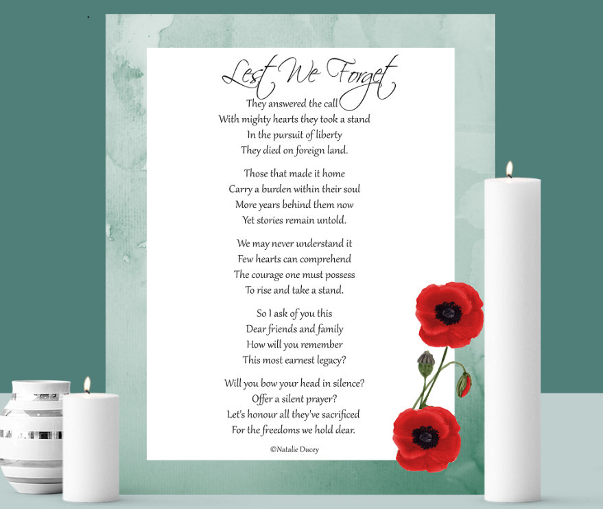 Lest We Forget ~ Poem of Remembrance by Natalie Ducey