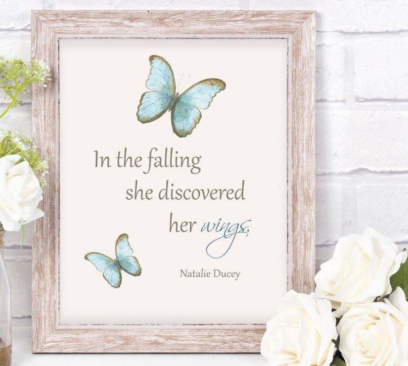 In the falling see discovered her wings. Verse and Image by Natalie Ducey