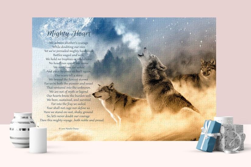 Mighty Heart Puzzle with Inspirational Verse - Wolves Image by Peace by Piece Puzzles